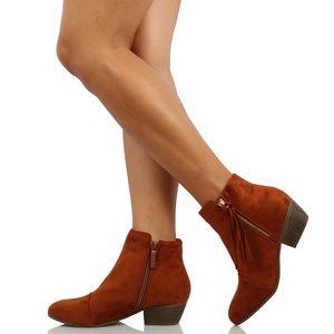 Tan faux suede tassel fringe Low Heel ankle boot